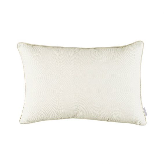 Chalk white quilted cushion with textured satin front and soft velvet back
