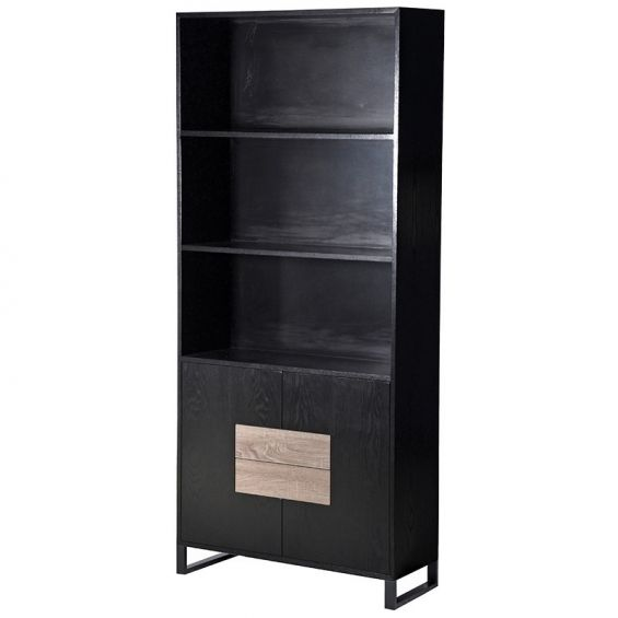 black and brown tall cabinet