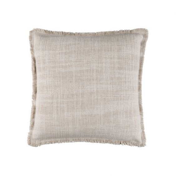 Square linen cushion with textured weave and frayed edging