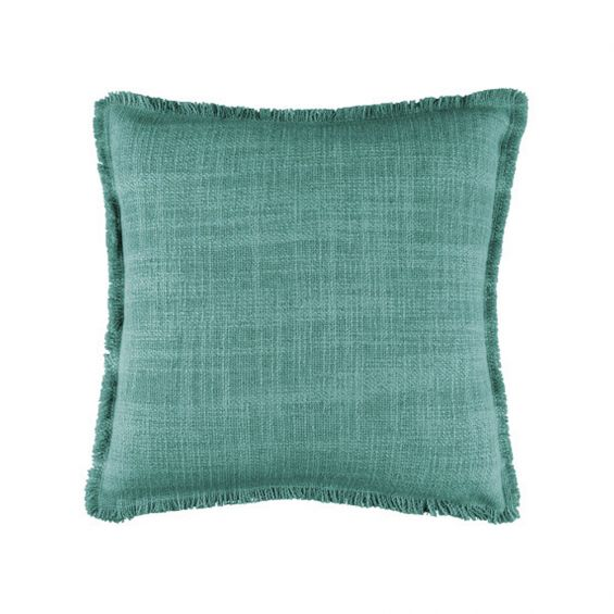 Jade green cushion in chunky textured weave and frayed edging