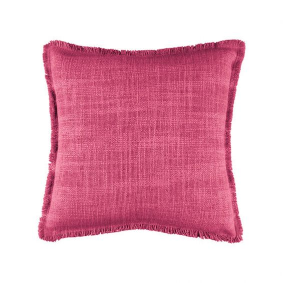 Mexican pink textured weave cushion with frayed edge