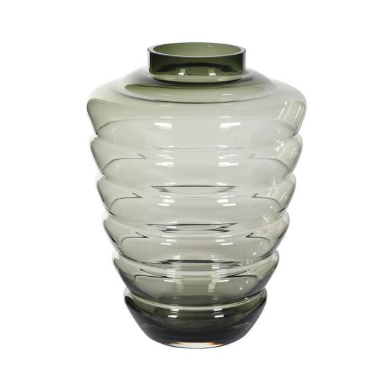 A luxurious tinted glass flower vase shaped like a beehive