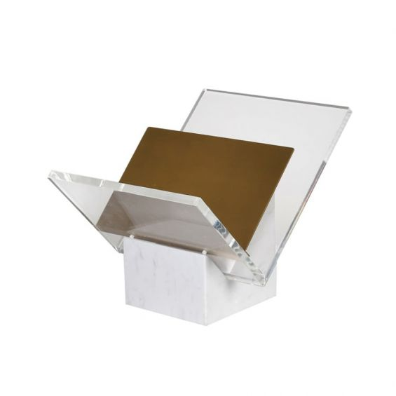 A chic white marble and acrylic book stand