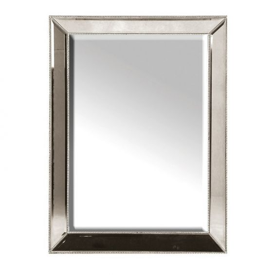 Antiqued Glass Smoked Studded Mirror