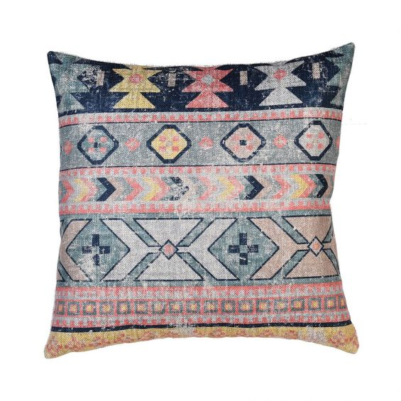colourful retro aztec inspired cushion with distressed finish