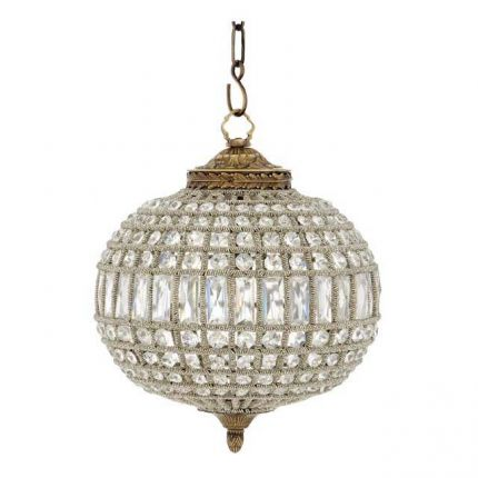 Small crystal glass oval design chandelier - Brass