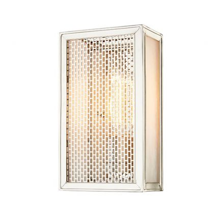 A contemporary box-shaped wall sconce in polished nickel