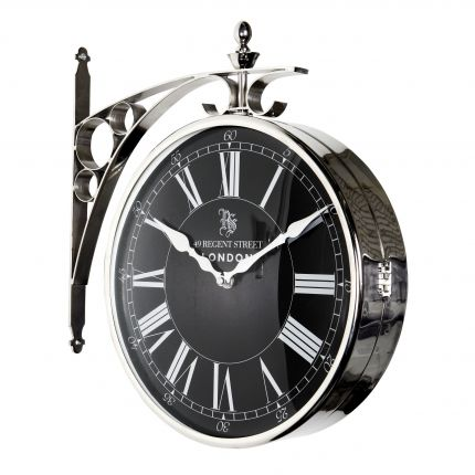 Classic black old-style wall clock with nickel finish