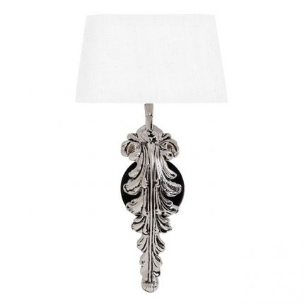 Luxury nickel floral stemmed wall lamp with white shade