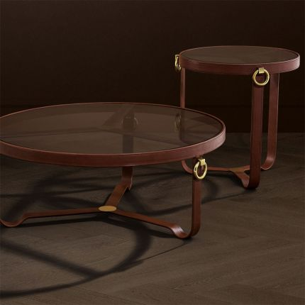 equestrian-inspired side table with brass accents