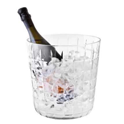 Luxury glass wine cooler with grid-like pattern