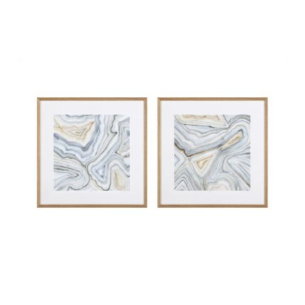 Pair of agate abstract prints with wooden frame