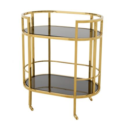 Gold framed drinks trolley with 2 glass shelves