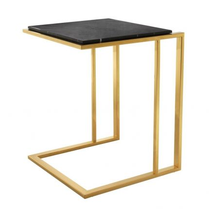 Modern gold frame side table with black marble top