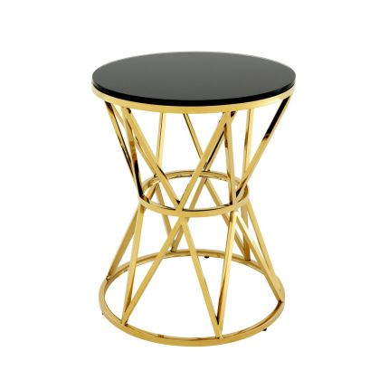 Gold finish side table with black glass tabletop
