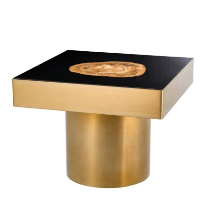 Brass framed side table with wooden feature in the black centre top