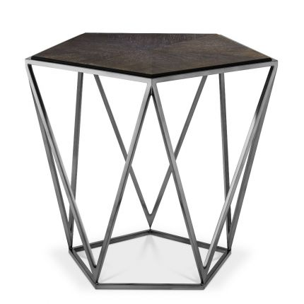 A contemporary charcoal oak veneer side table with black nickel frame by Eichholtz