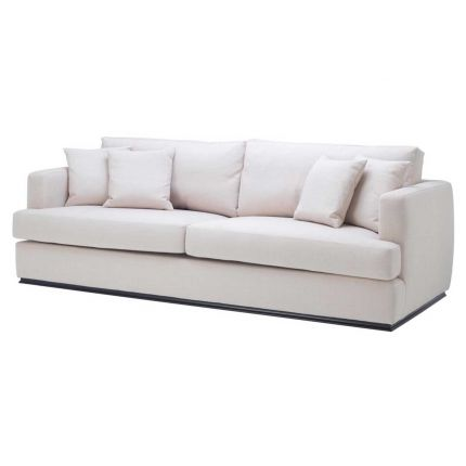 natural linen and polyester sofa with black base