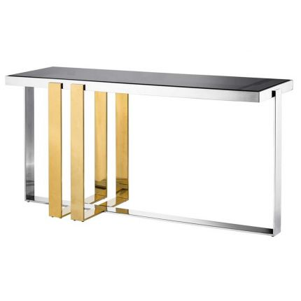 Modern smoke glass console table with gold finish detailing