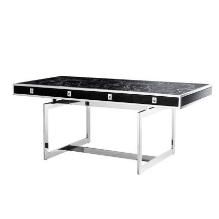 black marble tabletop with silver frame and details