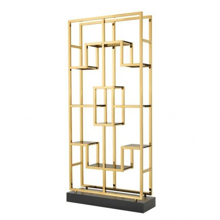 Sleek gold and glass statement cabinet