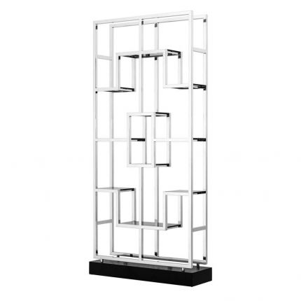 Sleek stainless steel and glass statement cabinet