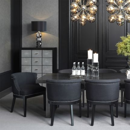 Eichholtz black dining chair with silver studding