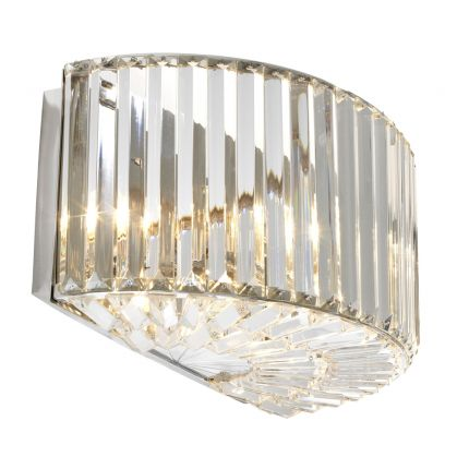 dazzling nickel finish semi-circle wall lamp with crystal glass rods
