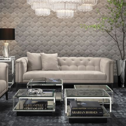 Luxurious Eichholtz pebble grey sofa with buttoned back