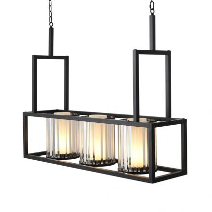 Industrial style chandelier with 3 glass lanterns