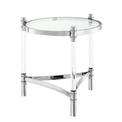 Contemporary round glass top stainless steel side table