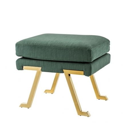 Art deco green stool with gold legs