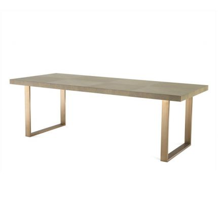 Grey checker board pattern dining table with brass legs