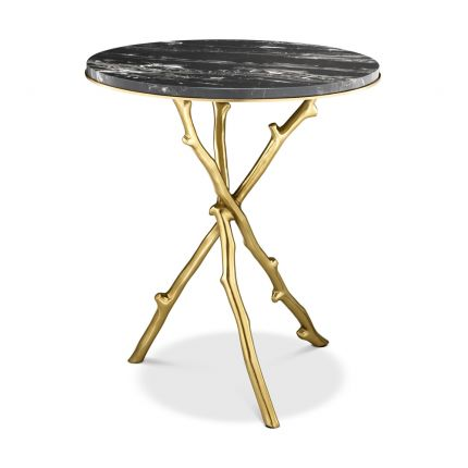 Eichholtz modern gold legged side table with black marble tabletop