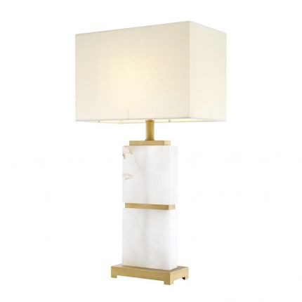 Contemporary alabaster and brass table lamp with white shade