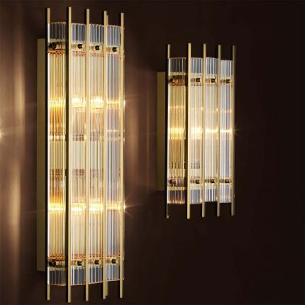 Gorgeous gold wall lamp with an art deco design