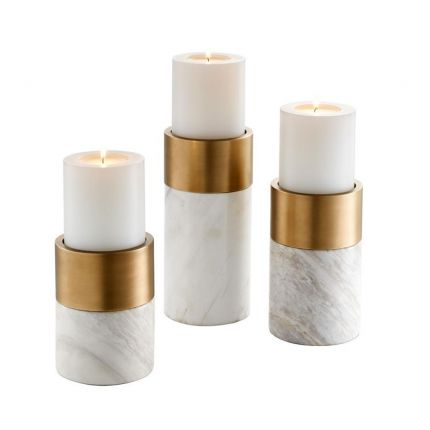 Set Of 3 Marble And Brass Candle Holders