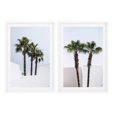 Set of 2 palm trees print with white frame