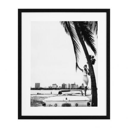 Monochromatic black and white Vogue, 1961 vintage print of tropical scene