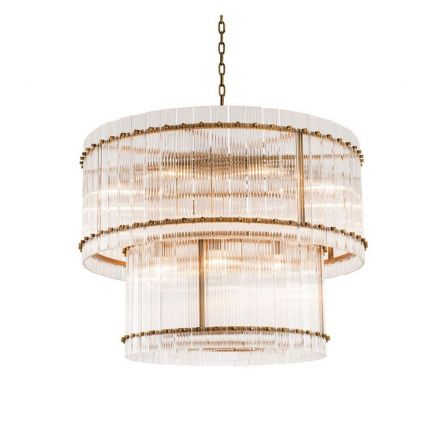 A stunning brass two-tiered chandelier.
