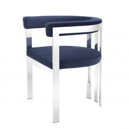 navy velvet dining chair with shiny silver frame