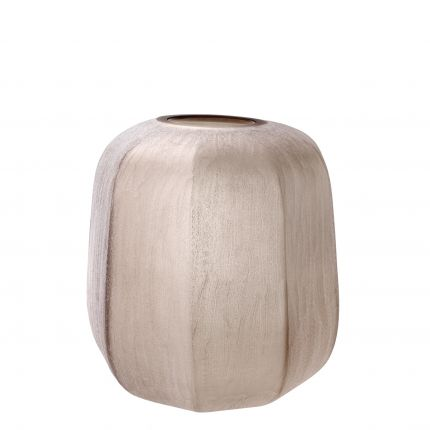 small sand-coloured hand-blown glass vase