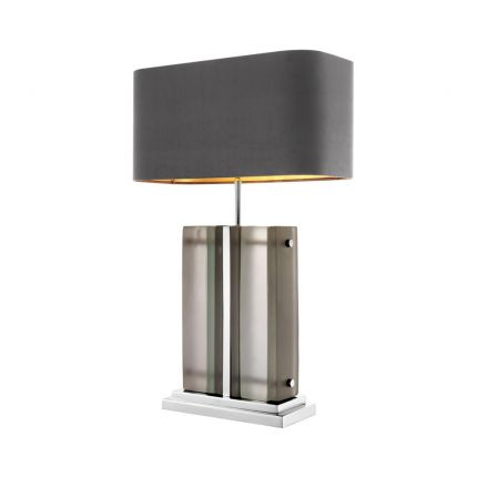 Silver table lamp with frosted glass and grey velvet shade
