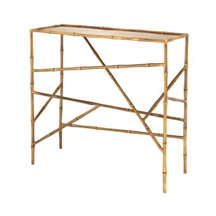 Hawaiian inspired console table with bamboo-like frame and bevelled glass top