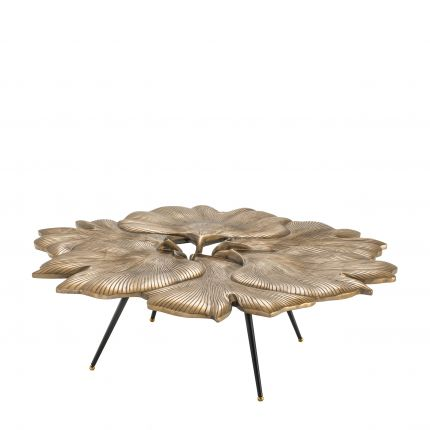 brass finish Ginkgo Biloba leaf coffee table with black tapered legs