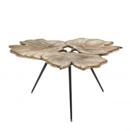 vintage brass ginkgo Biloba table with black tapered legs