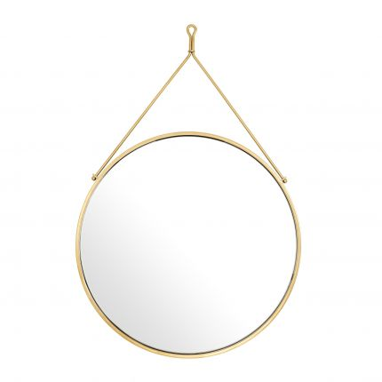 round hanging wall mirror with gold finish