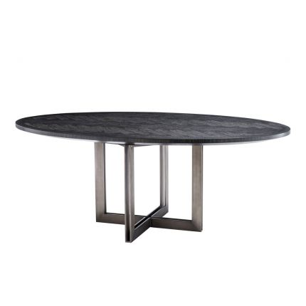 charcoal oval table with bronze base