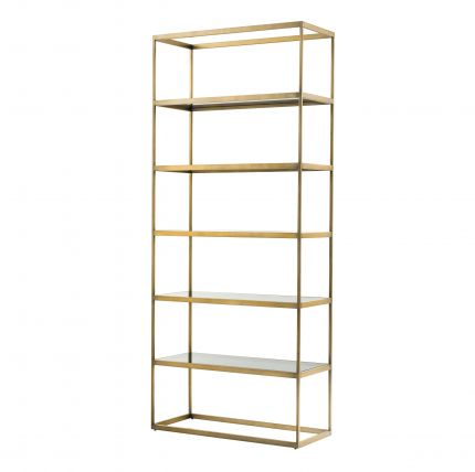 brushed brass unit with smoked glass shelves
