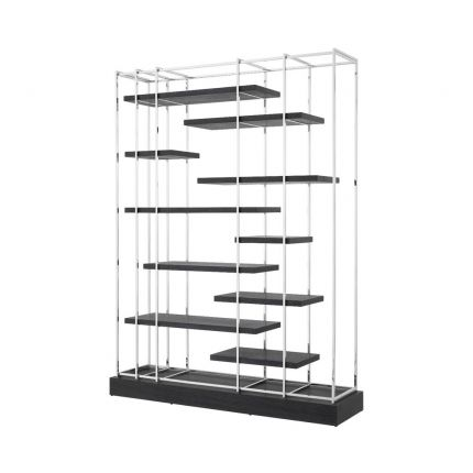 large nickel and charcoal shelving unit cabinet